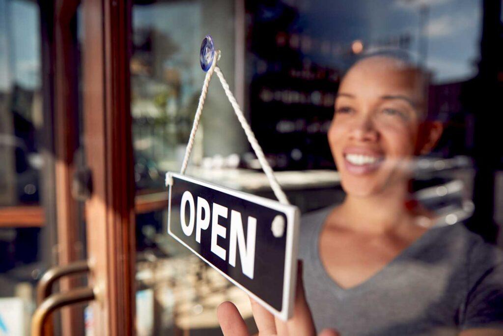 open sign on small business door