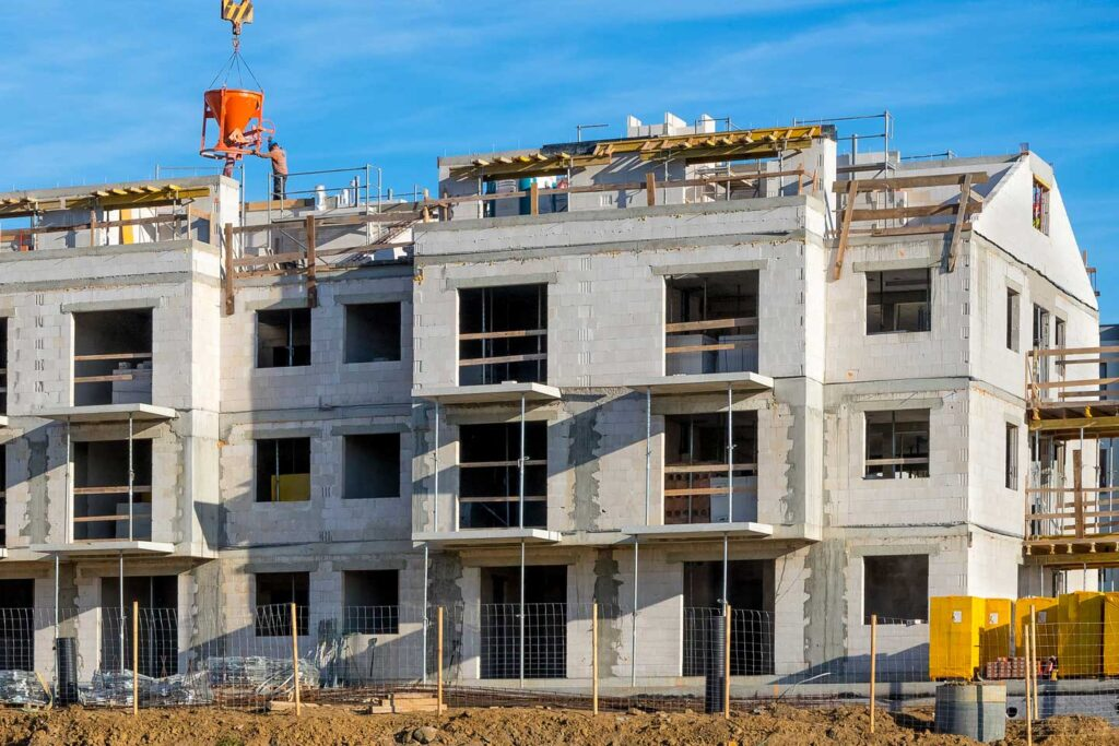 Low-income housing units under construction