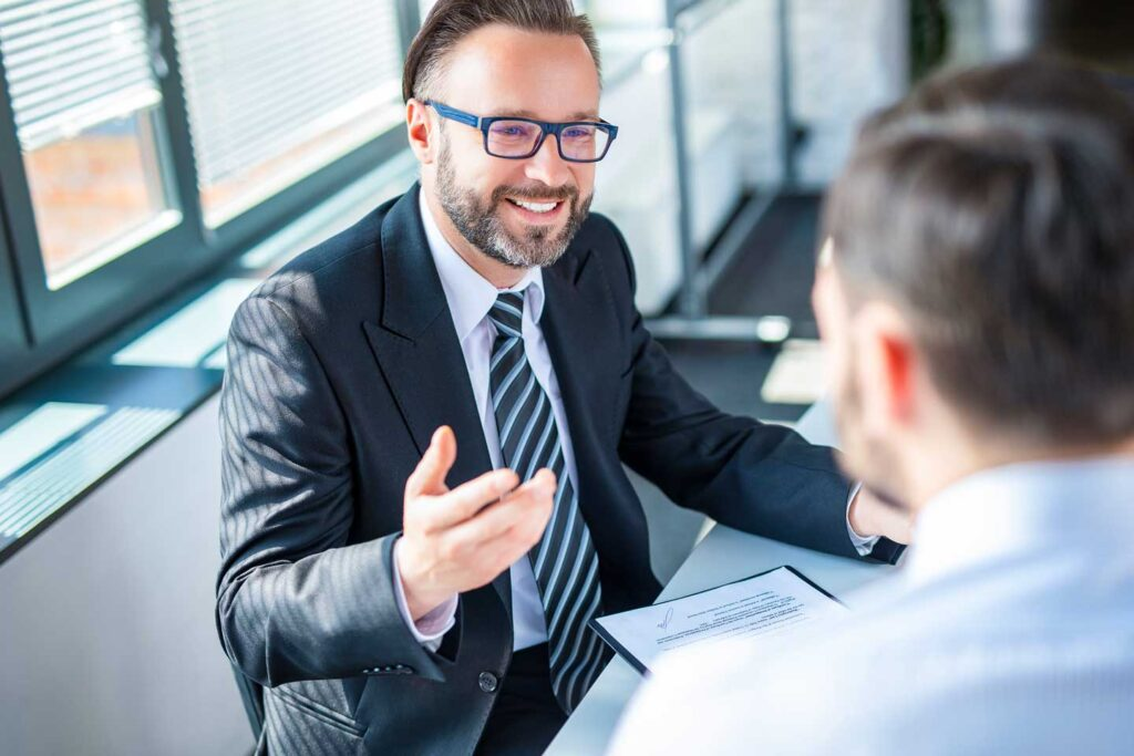 Consultant talking with a client