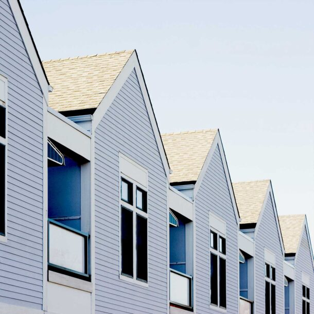 A row of new construction houses.