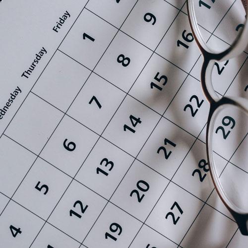 Close up of a desk calendar