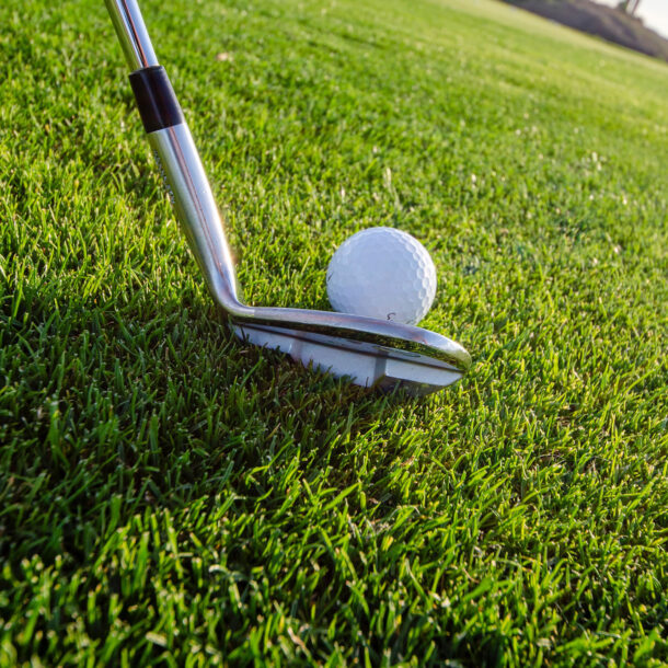 Close up of golf club teeing up ball on green.